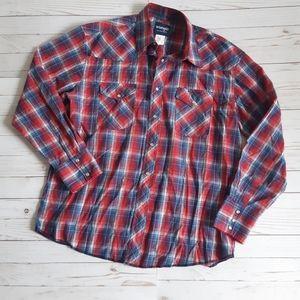 WRANGLER Plaid Flannel Red Blue Long Sleeve